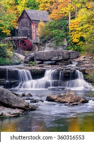 Glade Creek Gristmill and fall colors in West Virginia
