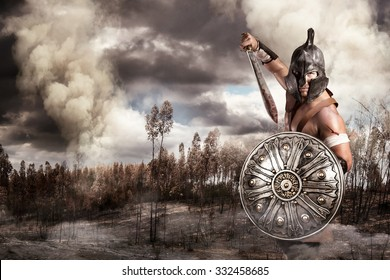 Gladiator in a battle site in the mountains