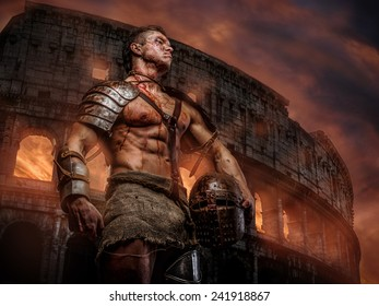 Gladiator covered in blood standing and holding helmet