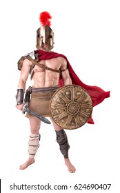 gladiator posing isolated in white