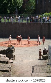 'Gladiator' show in the remains of  Roman Amphitheater in Chester.