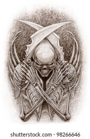 Gladiator skeleton. Fantasy. Sepia drawing chalk media.