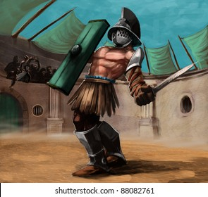 gladiator in the stadium in a fight, he has a sword in his hand