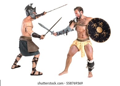 Gladiators fighting isolated in a white background