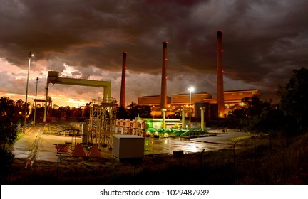 Gladstone, Queensland, Australia - January 2, 2018. Exterior view of NRC Gladstone Powerhouse at sunset before tropical storm.