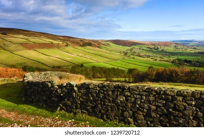 Glaisdale, Yorkshire, UK|. Dry stone wall overlooking agricultural landscape in deep valley bathed in autumn's colours in North York Moors, Glaisdale, Yorkshire, UK.