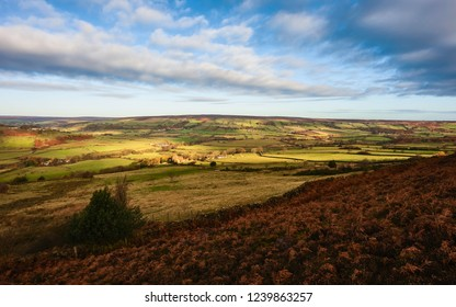 Glaisdale, Yorkshire, UK. View across the dale at Fryup on a fine autumn morning in the heart of the North York Moors, Glaisdale, Yorkshire, UK.