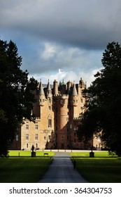 Glamis castle with dramatic light. Known as one of the most haunted castles in Scotland.
