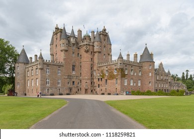 GLAMIS, SCOTLAND - JUNE19, 2018: Glamis Castle in Angus, Scotland, United Kingdom. Glamis Castle is situated close to the village of Glamis and is the home of the Earl of Strathmore and Kinghorne