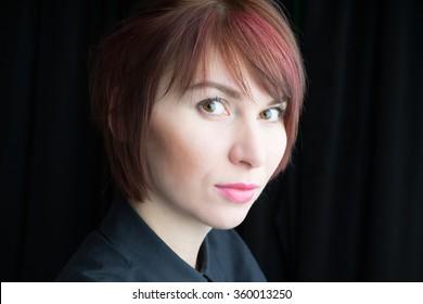 Glamor woman dark face portrait, beautiful female isolated on black background, stylish sexy look, young lady studio shot