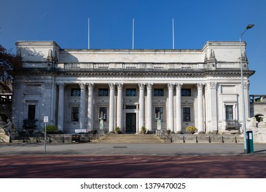 The Glamorgan Building (Cardiff University; formerly Glamorgan County Hall) in the Civic Centre, Cathays Park, Cardiff. April 21st 2019