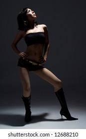 glamorous asian female model with dramatic lighting