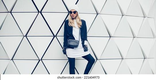 Glamorous blonde on the street. urban fashion  style