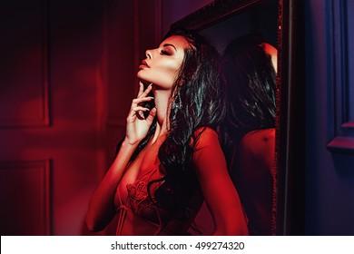 Glamorous brunette beauty posing