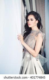 Glamorous Brunette Fashion Model Woman