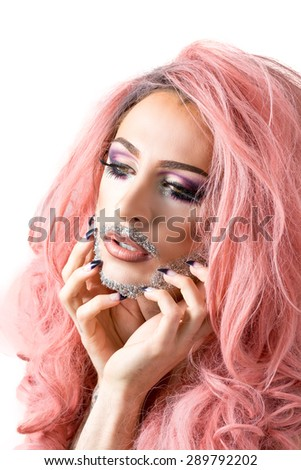 Glamorous Man In Drag Queen Make Up With Heavy Mascara On Eyes Glittery Beard