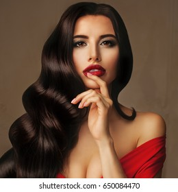 Glamorous Model Brunette Woman with Permed Hairstyle and Makeup