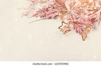 glamorous pink shiny decor christmas holidays background. new year and Christmas festive creative background. copy space