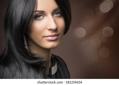 glamorous portrait of young beautiful girl