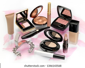 Glamorous set of makeups and cosmetics against pink color fantasy background.