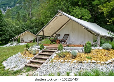 Glamorous tent with wooden flooring, equipped and ready for guests in Bovec, Slovenia. Eco friendly and sustainable glamping is now a fashionable way to spent vacation.