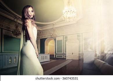 Glamorous Woman in Palace Interior