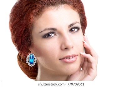 Glamour beautiful woman with jewlery diamond earring