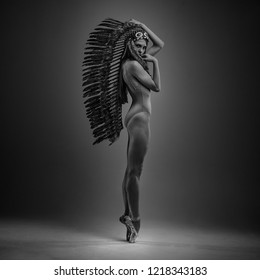 Glamour, classic ballet dancer with indian feathers plume dancing with elegance