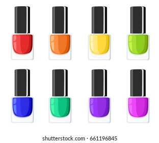 Glamour elegance manicure illustration Nail polish colors spilling out of bottles. templates for cosmetic products