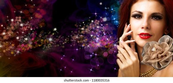 glamour fashion woman on night beautiful background