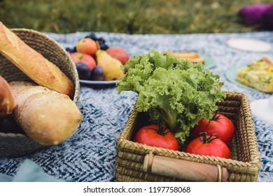 Glamour picnic with homemade organic food.
