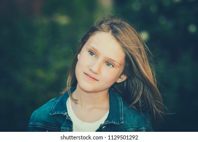 Glamour portrait of beautiful girl 10-11 year old