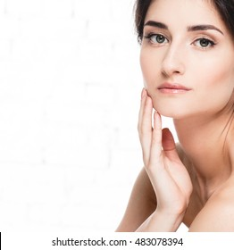 Glamour portrait of beautiful woman model with fresh daily makeup Healthy skin concept