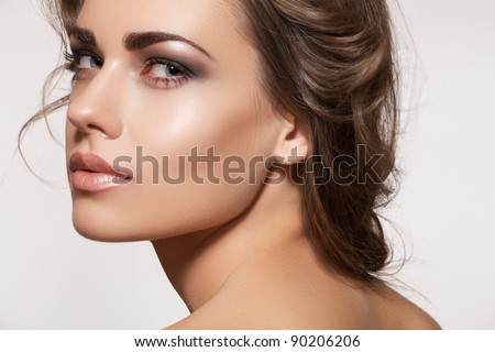 Glamour Portrait Of Beautiful Woman Model With Fresh Daily Makeup And Romantic Wavy Hairstyle Fashion