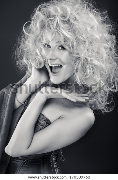 Glamour portrait of blond woman