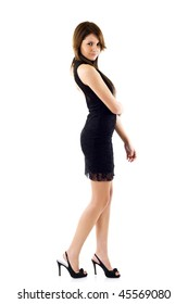 Glamour Portrait of sexy woman over white  background