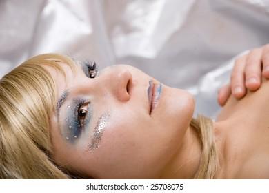 glamour silver beautiful winter woman
