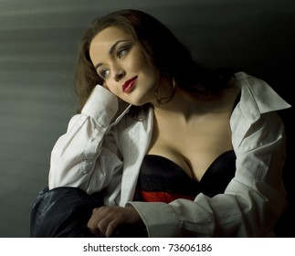 Glamour style portrait of pretty woman