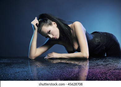 Glamour woman over blue background
