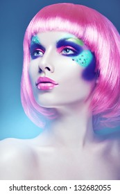 glamour woman with pink wig