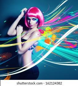 glamour woman in pink wig with abstract