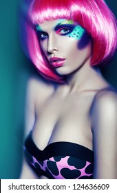 glamour woman in pink wig and bra