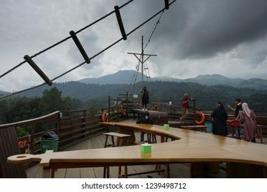 Glamping Lakeside Rancabali,Bandung City, Indonesia. Taken On September 2018. Close up shot in hanging bridge in Lakeside Rancabali to the ship restaurant.