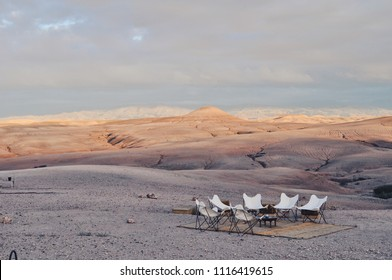 Glamping setup in the Moroccan Desert