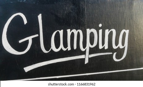 Glamping Sign at a Campsite in South Wales UK