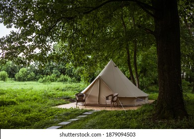 Glamping site in the woods on a calm afternoon.