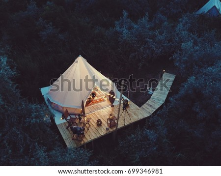 Glamping tent from above