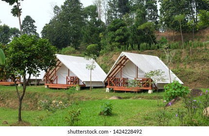 A glamping tent surrounded by forest in Bogor, indonesia.