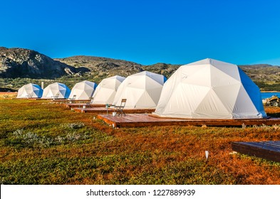 Glamping tents in the Arctic on the Kola peninsula