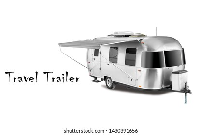 Glamping Travel Trailer Isolated on White Background. Side View of Stainless Steel Motorhome. Modern Caravan Car. Camping and Traveling Towed Recreational Vehicle. 3D Rendering. Holiday Trip